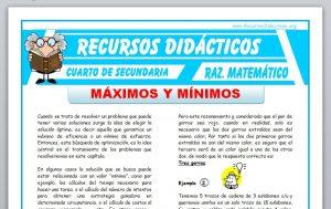 Ficha de Ejercicios de Máximos y Mínimos para Cuarto de Secundaria