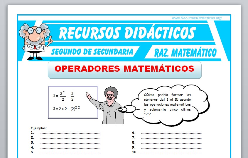 Ficha de Ejercicios de Operadores Matemáticos para Segundo de Secundaria