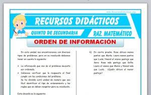 Ficha de Ejercicios de Orden de Información para Quinto de Secundaria