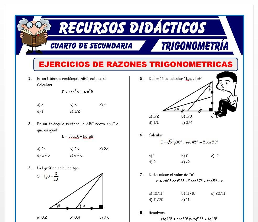 Ficha de Ejercicios de Razones Trigonométricas para Cuarto de Secundaria