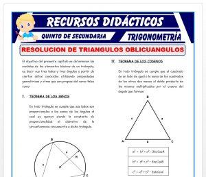 Ficha de Ejercicios de Resolución de Triángulos Oblicuángulos para Quinto de Secundaria