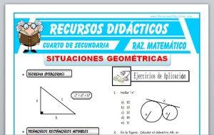 Ficha de Ejercicios de Situaciones Geométricas para Cuarto de Secundaria