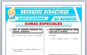 Ficha de Ejercicios de Sumas Especiales para Quinto de Secundaria