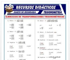 Ficha de Ejercicios de Transformaciones Trigonométricas para Cuarto de Secundaria