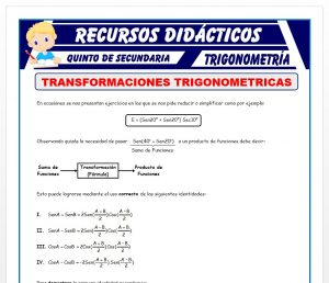 Ficha de Ejercicios de Transformaciones Trigonométricas para Quinto de Secundaria