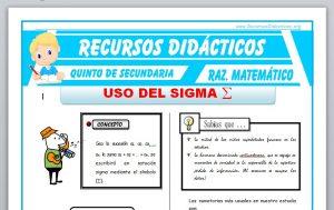 Ficha de Ejercicios de uso del Sigma para Quinto de Secundaria