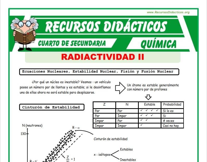 Ficha de Estabilidad Nuclear para Cuarto de Secundaria