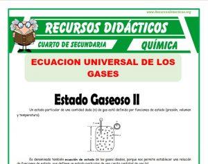 Ficha de Estado Gaseoso de la Ecuación General de los Gases para Cuarto de Secundaria