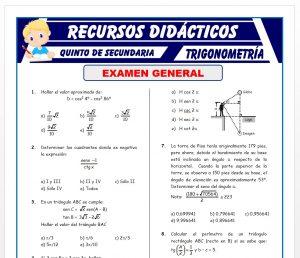 Examen de Trigonometría para Quinto de Secundaria