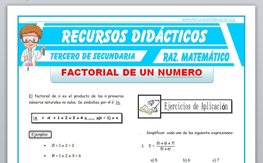 Ficha de Factorial de un Número para Tercero de Secundaria