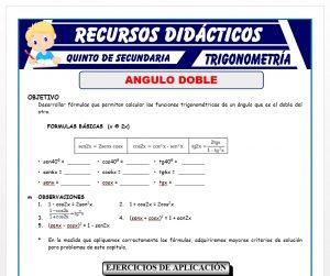 Ficha de Función Trigonométrica de Ángulo Doble para Quinto de Secundaria