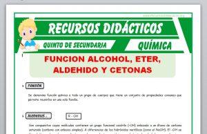 ficha de Función Alcoholes, Éter, Aldehído y Cetonas para Quinto de Secundaria
