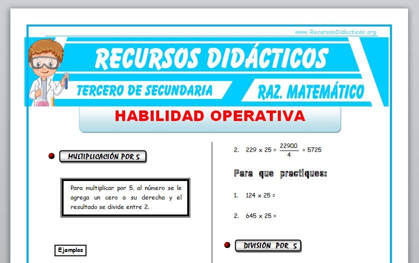 Ficha de Habilidad Operativa para Tercero de Secundaria