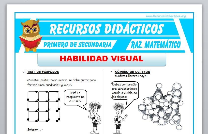 Ficha de Habilidad Visual para Primero de Secundaria