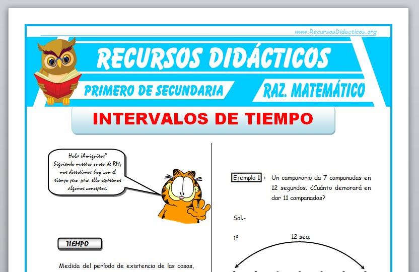 Ficha de Intervalos de Tiempo para Primero de Secundaria