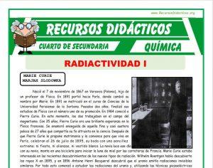 Ficha de Introducción a la Radiactividad para Cuarto de Secundaria