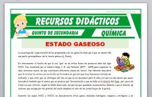 Ficha de Introducción de Estado Gaseoso para Quinto de Secundaria