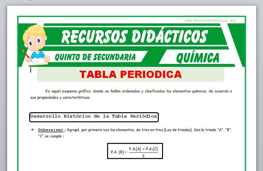 Ficha de Introducción de la Tabla Periódica para Quinto de Secundaria