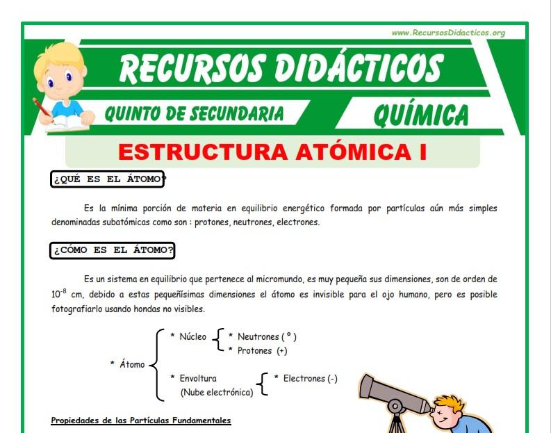 Ficha de Introducción del Átomo para Cuarto de Primaria