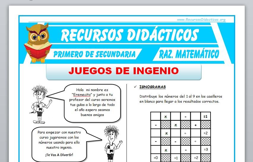 Ficha de Juegos de Ingenio para Primero de Secundaria