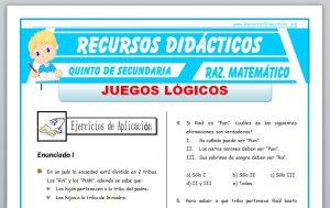 Ficha de Juegos Lógicos para Quinto de Secundaria