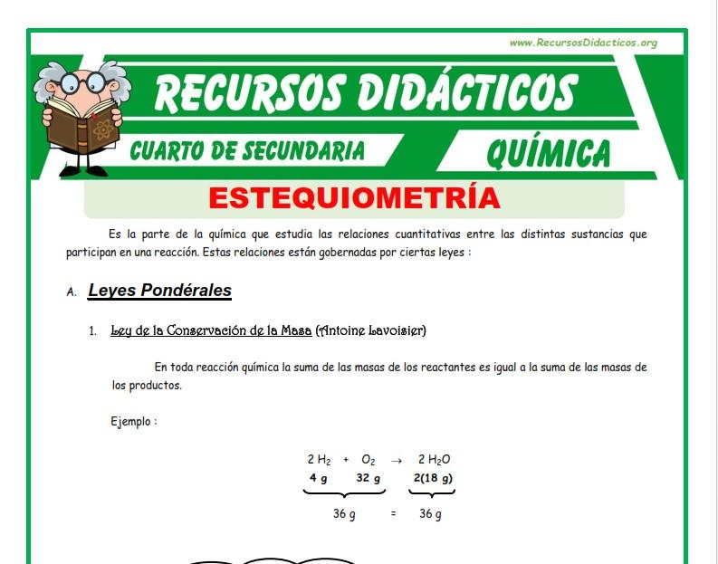 Ficha de Leyes de la Estequiometria para Cuarto de Secundaria