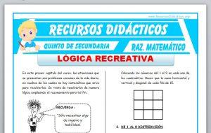 Ficha de Lógica Recreativa para Quinto de Secundaria