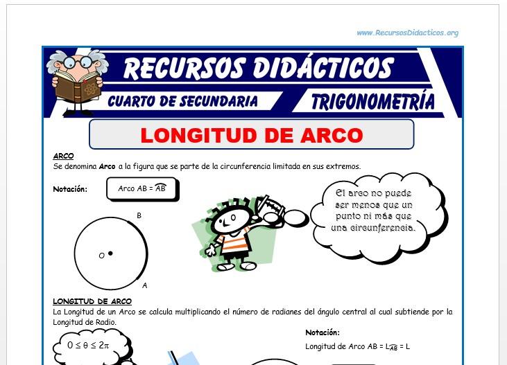 Ficha de Longitud de Arco para Cuarto de Secundaria