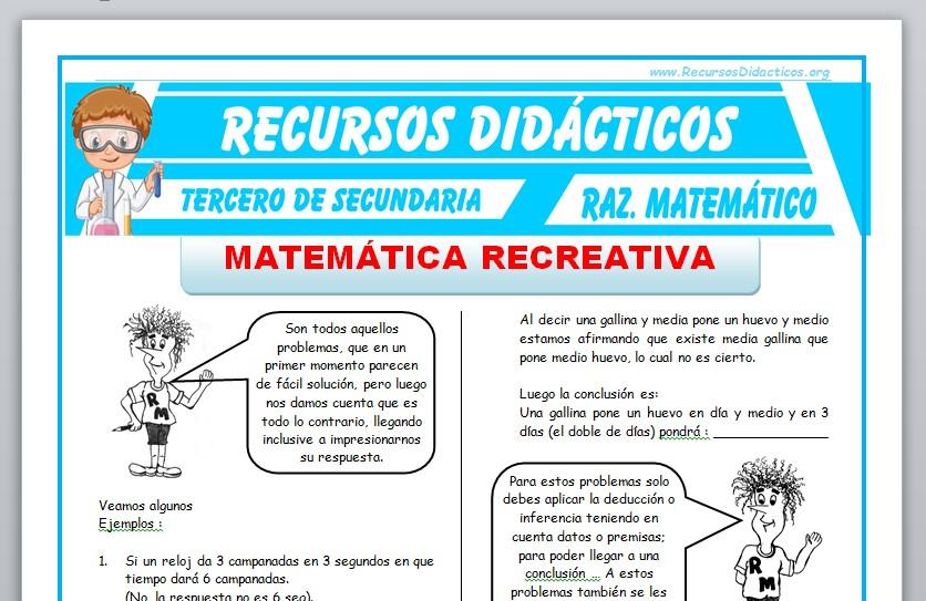 Ficha de Matemática Recreativa para Tercero de Secundaria