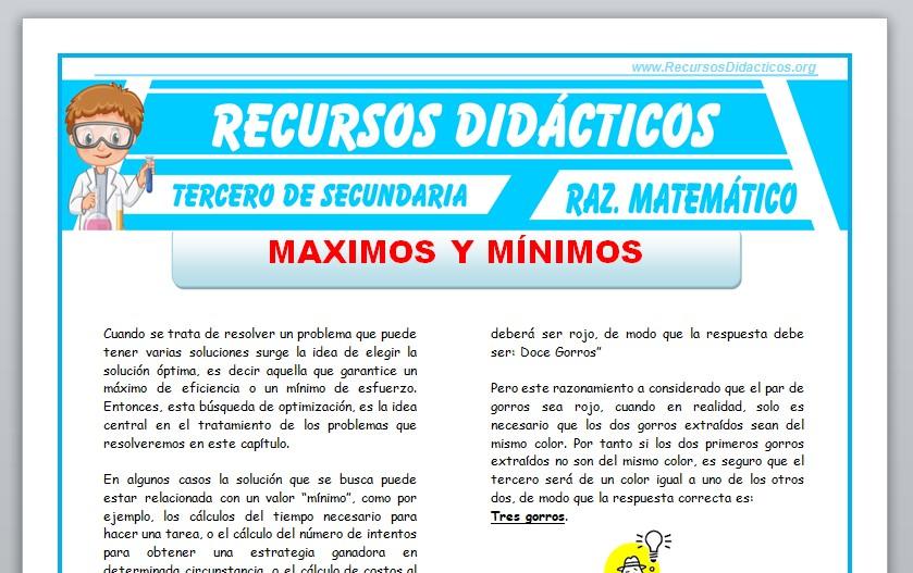 Ficha de Máximos y Mínimos para Tercero de Secundaria