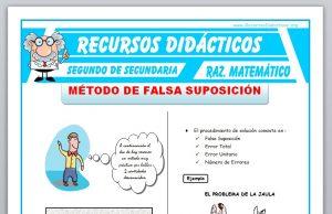 Ficha de Método de Falsa Suposición para Segundo de Secundaria