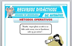 Ficha de Métodos Operativos para Segundo de Secundaria