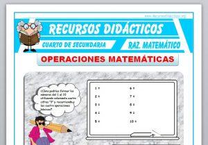 Ficha de Operaciones Matemáticas para Cuarto de Secundaria