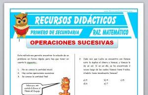 Ficha de Operaciones Sucesivas para Primero de Secundaria