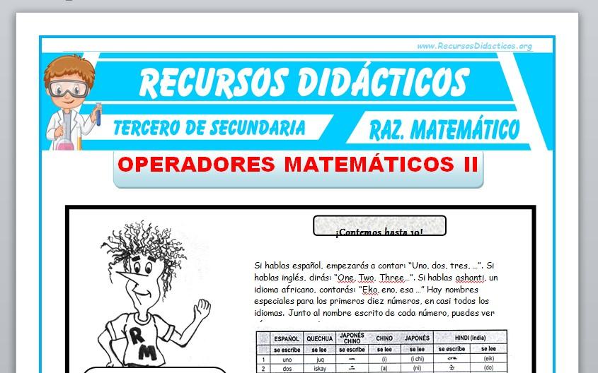 Ficha de Operadores Matemáticos con Tablas para Tercero de Secundaria