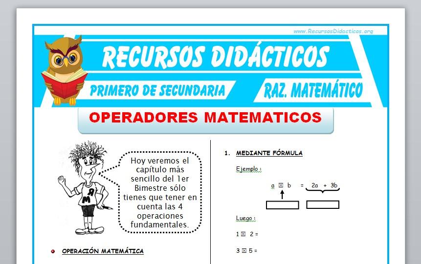Ficha de Operadores Matemáticos para Primero de Secundaria