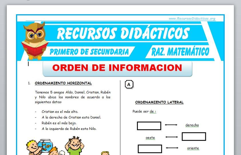 Ficha de Orden de Información para Primero de Secundaria