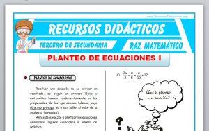 Ficha de Planteo de Ecuaciones 1 para Tercero de Secundaria