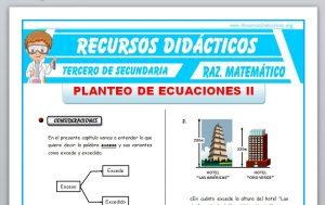 Ficha de Planteo de Ecuaciones 2 para Tercero de Secundaria