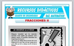Ficha de Problemas con Fracciones para Cuarto de Secundaria
