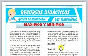 Ficha de Problemas con Máximos y Mínimos para Quinto de Secundaria