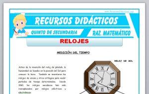 Ficha de Problemas con Relojes para Quinto de Secundaria