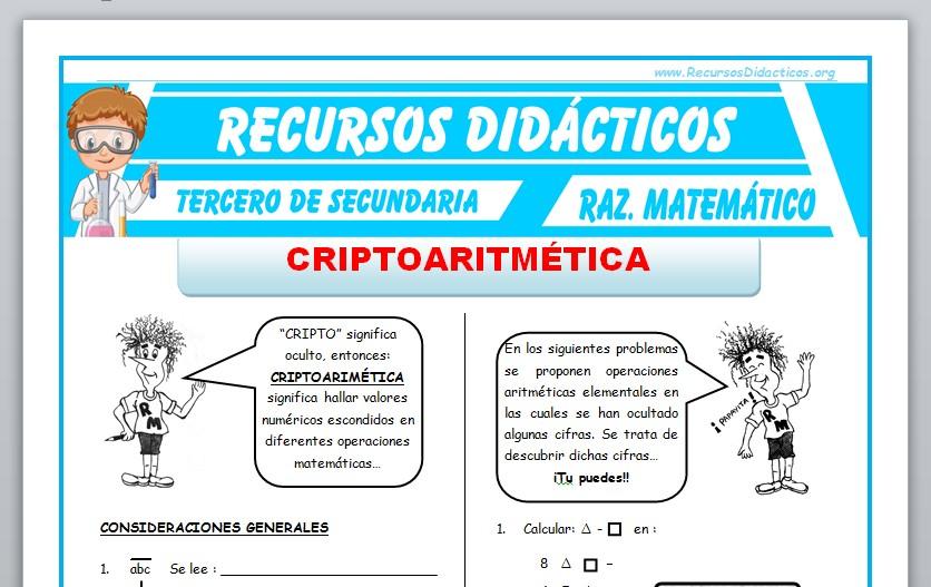Ficha de Problemas de Criptoaritmética para Tercero de Secundaria