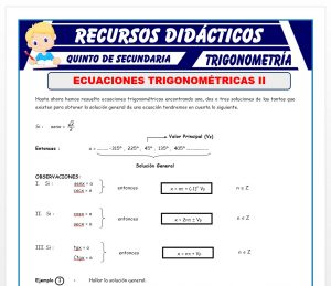 Ficha de Problemas de Ecuaciones Trigonométricas para Quinto de Secundaria