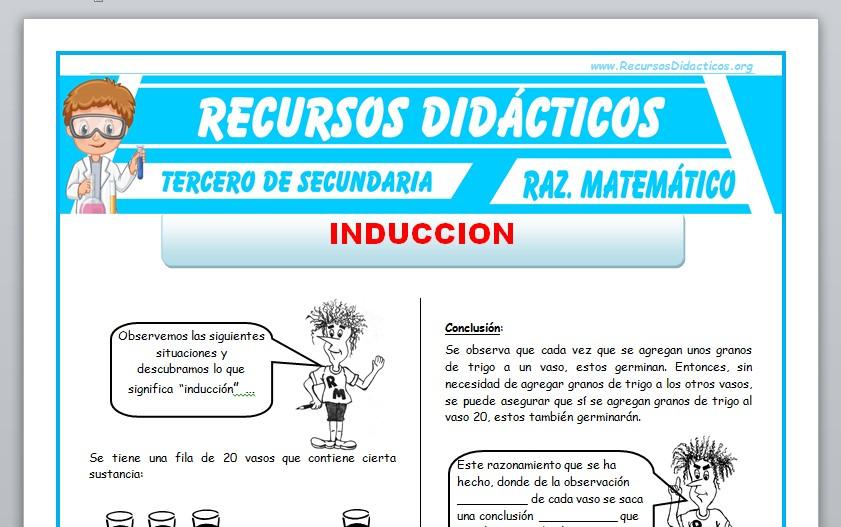 Ficha de Problemas de Inducción para Tercero de Secundaria