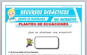 Ficha de Problemas de Planteo de Ecuaciones 1 para Quinto de Secundaria