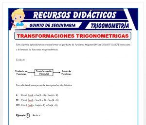 Ficha de Problemas de Transformaciones Trigonométricas para Quinto de Secundaria