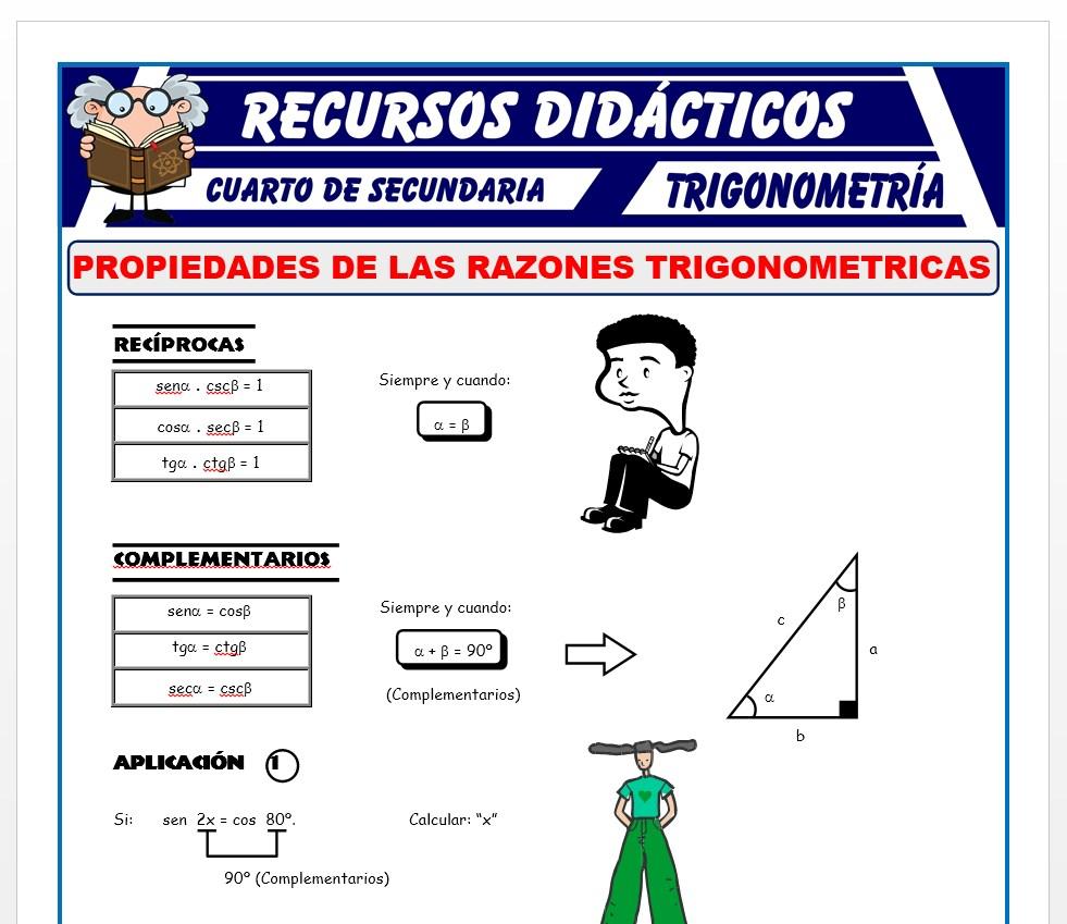 Ficha de Propiedades de las Razones Trigonométricas para Cuarto de Secundaria