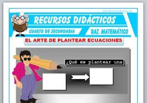 Ficha de Que es plantear una Ecuación para Cuarto de Secundaria