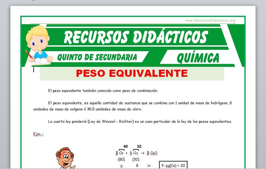 Ficha de Que es un Peso Equivalente para Quinto de Secundaria